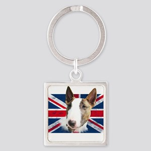 Bull Terrier UK grunge flag Keychains