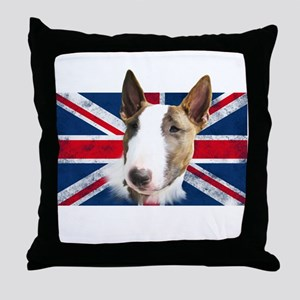 Bull Terrier UK grunge flag Throw Pillow