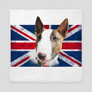 Bull Terrier UK grunge flag Queen Duvet