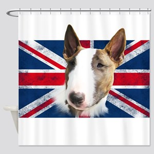 Bull Terrier UK grunge flag Shower Curtain
