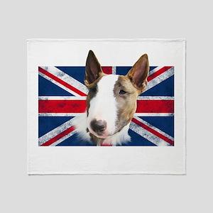 Bull Terrier UK grunge flag Throw Blanket