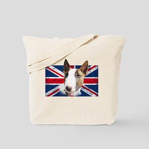 Bull Terrier UK grunge flag Tote Bag