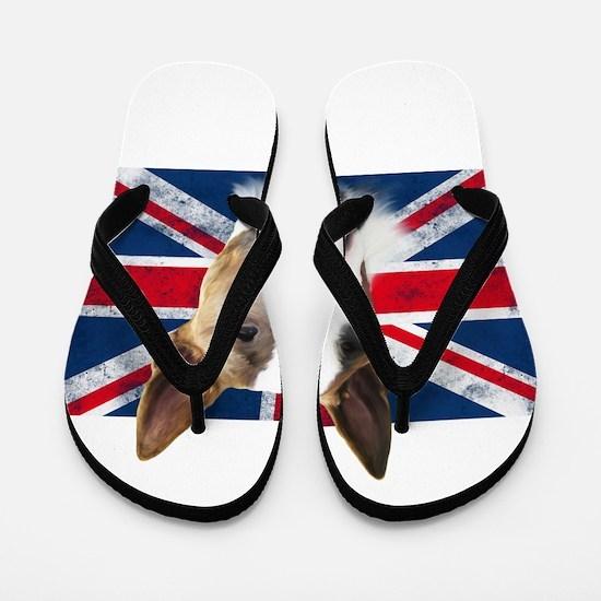 Bull Terrier UK grunge flag Flip Flops