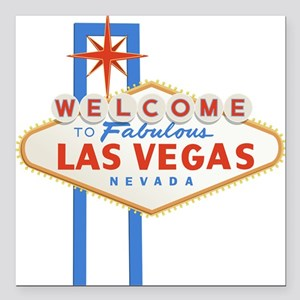 "Las Vegas Sign Square Car Magnet 3"" x 3"""