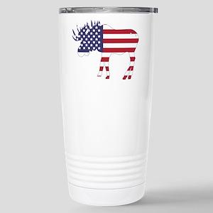 US Flag Moose Travel Mug