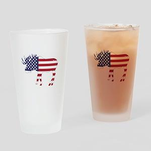 US Flag Moose Drinking Glass
