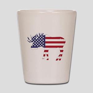 US Flag Moose Shot Glass