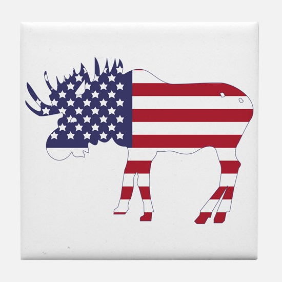 US Flag Moose Tile Coaster