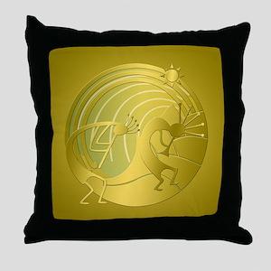 Golden Path Kokopelli Set Throw Pillow