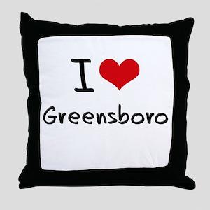 I Heart GREENSBORO Throw Pillow