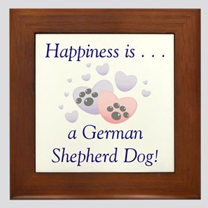 Happiness is...a German Shepherd Dog Framed Tile