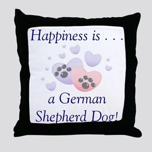 Happiness is...a German Shepherd Dog Throw Pillow