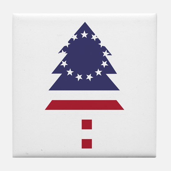 Betsy Ross Flag Pine Tree Tile Coaster