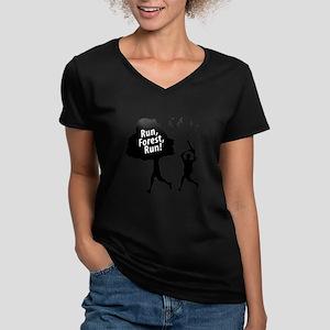 Run Forest Run | Women's V-Neck Dark T-Shirt