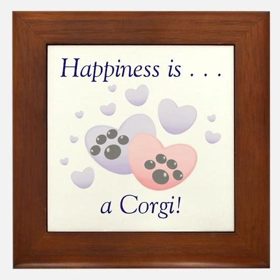 Happiness is...a Corgi Framed Tile