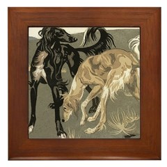 Saluki Pair Framed Tile