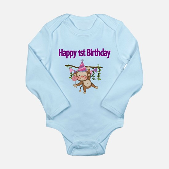 HAPPY 1st BIRTHDAY WITH CUTE MONKEY Body Suit