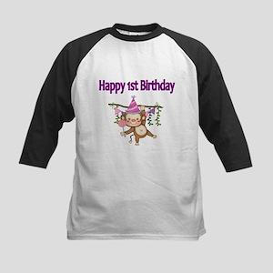 HAPPY 1st BIRTHDAY WITH CUTE MONKEY Baseball Jerse