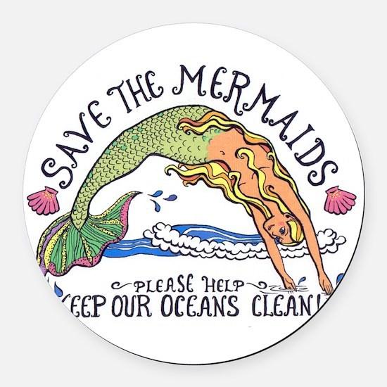 Cute Mermaid Round Car Magnet