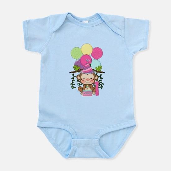 Cute Monkey 1st Birthday Body Suit