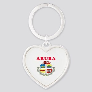 Aruba Coat Of Arms Designs Heart Keychain