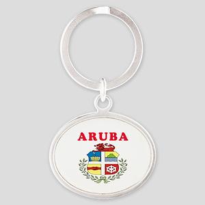 Aruba Coat Of Arms Designs Oval Keychain