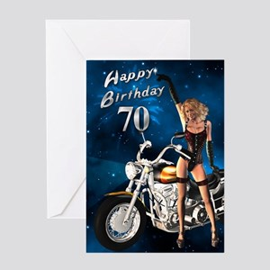 70th birthday sexy biker Greeting Card