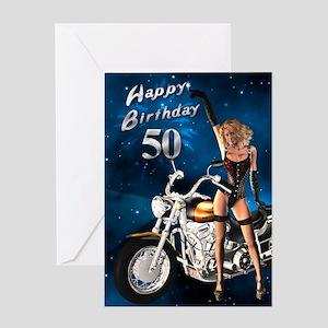 50th Birthday Sexy Biker Greeting Card
