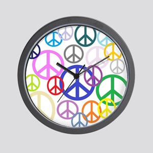 Peace Sign Collage Wall Clock