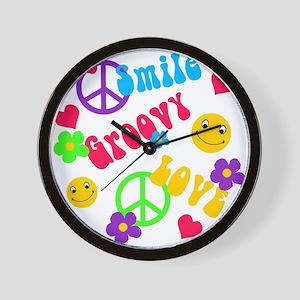 smile groovy love Wall Clock