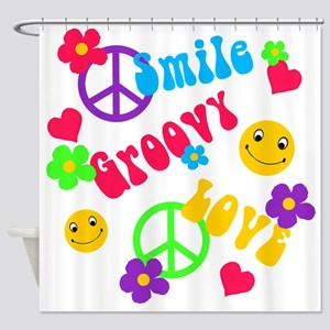 smile groovy love Shower Curtain
