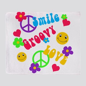 smile groovy love Throw Blanket