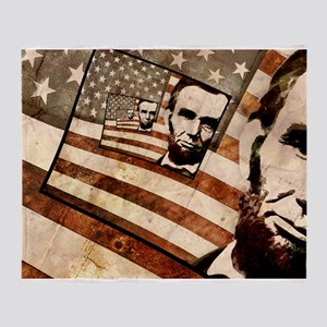 President Abraham Lincoln Patriotic Flag Throw Bla