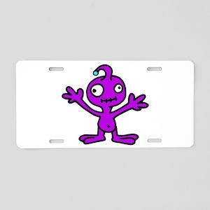 Space Alien Aluminum License Plate