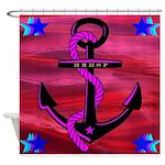 Anchors Away Ocean Badge Shower Curtain
