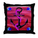 Anchors Away Ocean Badge Throw Pillow