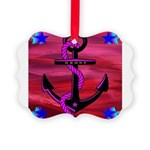 Anchors Away Ocean Badge Picture Ornament