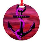 Anchors Away Ocean Badge Round Ornament