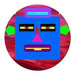 Robot Island Chief Head Round Car Magnet
