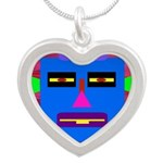 Robot Island Chief Head Silver Heart Necklace