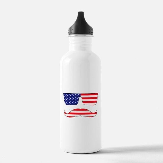 Cool mustache patriot Water Bottle