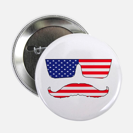 "Cool mustache patriot 2.25"" Button (10 pack)"