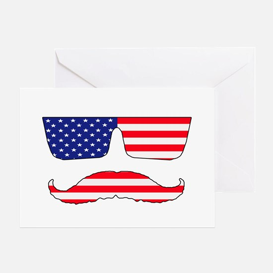 Cool mustache patriot Greeting Card