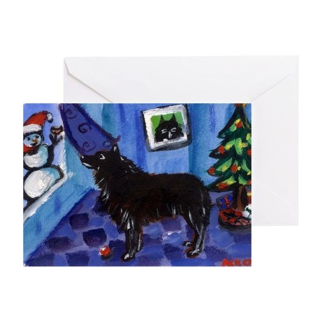 Schipperke Xmas snowman Greeting Cards (Package of