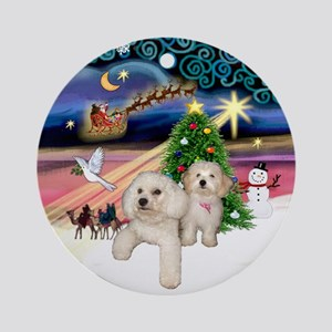 Xmas Magic with Bichon & Havanese Ornament (Round)