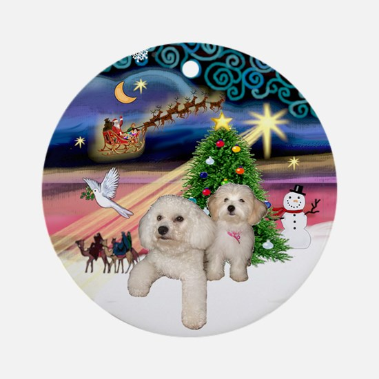 Xmas Magic with Bichon & Havanese Ornament (Round)