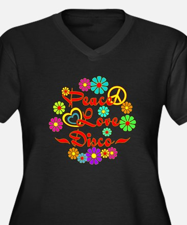 Peace Love Disco Women's Plus Size V-Neck Dark T-S