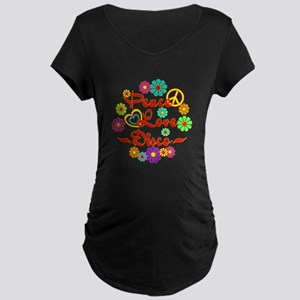Peace Love Disco Maternity Dark T-Shirt