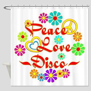 Peace Love Disco Shower Curtain