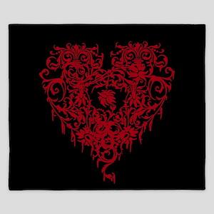 Ornate Red Gothic Heart King Duvet
